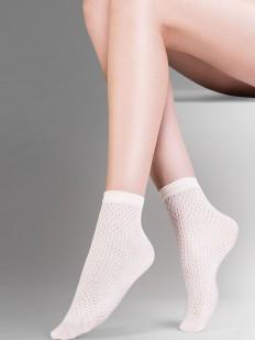 Короткие белые женские носки с ажурной вязкой