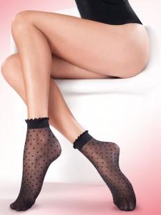 Капроновые женские носочки в горошек с ажурной резинкой