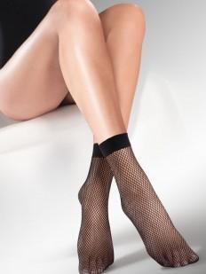 Черные женские носки в классическую сеточку с мягкой резинкой