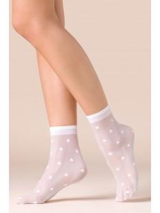 Капроновые белые женские носочки со звездами