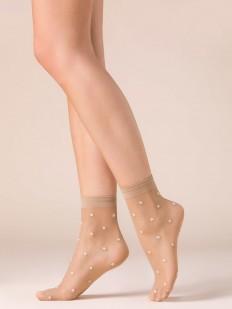 Капроновые телесные женские носочки со звездами