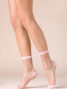 Прозрачные женские носки с цветными конфетти и светло-розовыми вставками