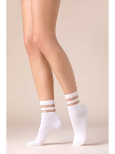 Белые женские носки из лиоцелла с прозрачными полосками
