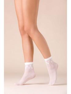 Капроновые белые женские носки с цветочным узором