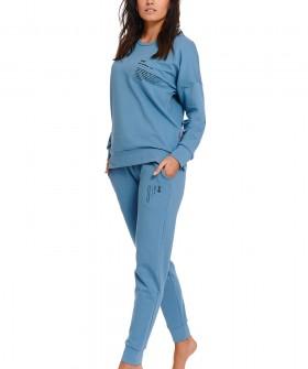 Женские хлопковые голубые брюки джоггеры