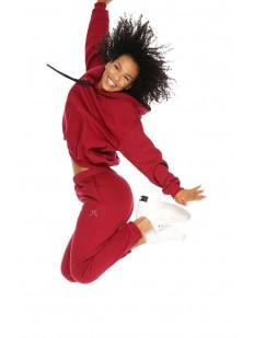 Красные спортивные женские джоггеры из хлопка с высокой талией