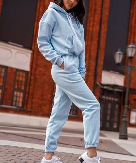 Голубые хлопковые женские брюки джоггеры в спортивном стиле