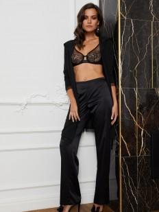 Черные домашние женские штаны прямого кроя