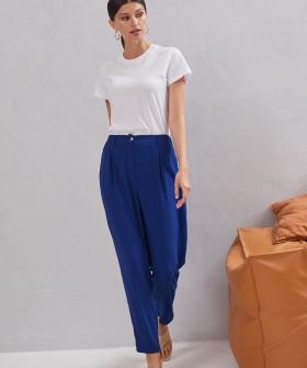 Синие женские брюки с высокой талией