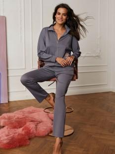 Серые женские домашние штаны из поливискозы элегантного кроя