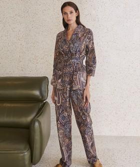 Домашние женские брюки из хлопка с принтом пейсли