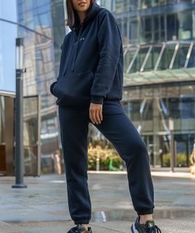 Черные хлопковые женские брюки джоггеры в спортивном стиле