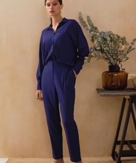 Синие женские брюки из легкой вискозы