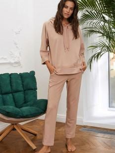 Бежевые женские брюки для дома с лампасами