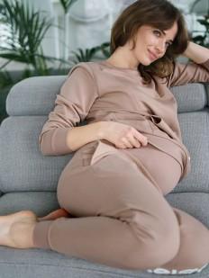 Бежевые брюки джоггеры для беременных