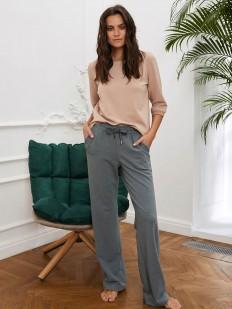 Зеленые домашние женские брюки с атласными лампасами