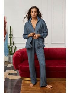 Домашние женские брюки из легкой вискозы синего цвета