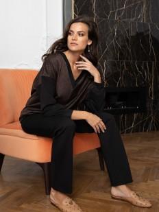 Черные домашние женские брюки прямого кроя