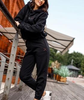 Черные спортивные женские джоггеры из хлопка с высокой талией