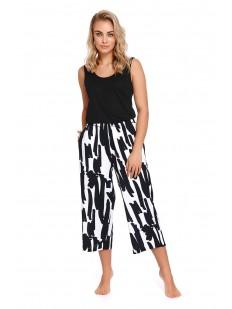 Женские домашние укороченные брюки с черно-белым принтом