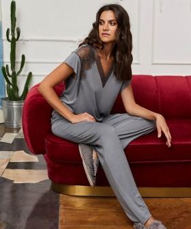 Легкие женские брюки для дома из вискозы серого цвета