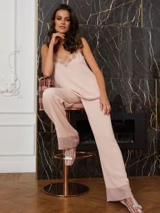 Прямые женские штаны для дома с контрастными штанинами