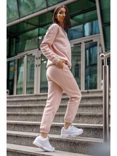 Пудровые хлопковые женские брюки джоггеры в спортивном стиле