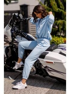 Голубые спортивные женские джоггеры из хлопка с высокой талией