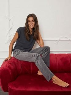 Серые домашние женские брюки из меланжевой поливискозы