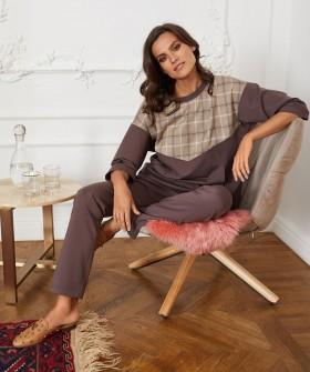 Женские домашние брюки из хлопка в оттенке какао
