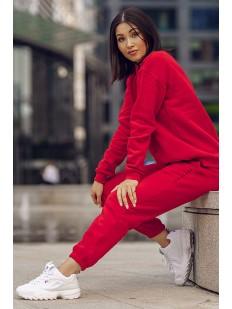 Красные хлопковые женские брюки джоггеры в спортивном стиле