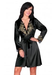 Атласный черный пеньюар с золотой вышивкой и длинным рукавом