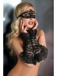 Ажурные черные митенки с кружевом и вышивкой