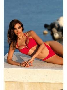 Раздельный красный купальник с высокими узкими плавками