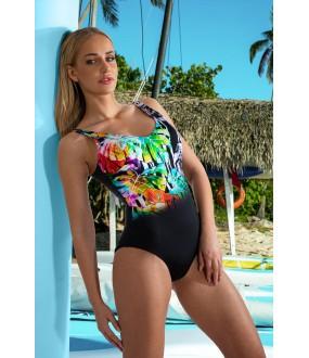 Слитный черный купальник с разноцветным принтом спереди