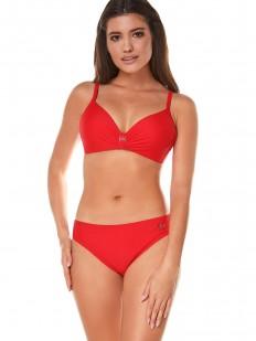 Женский красный раздельный купальник с уплотненными чашками