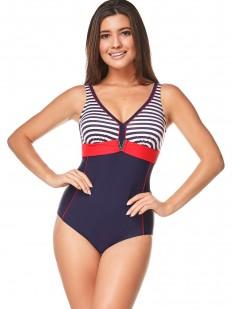 Женский слитный купальник в морском стиле с лифом в полоску