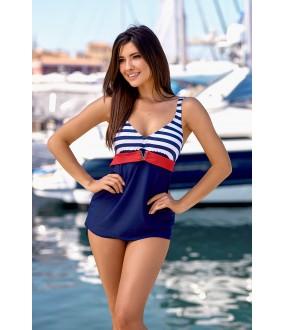 Женский синий раздельный купальник танкини в морском стиле