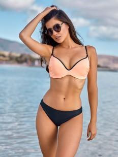Раздельный купальник с персиковым верхом и черными плавками