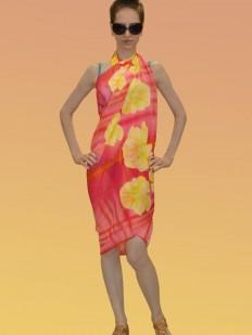 Коралловое пляжное парео с желтым цветочным принтом