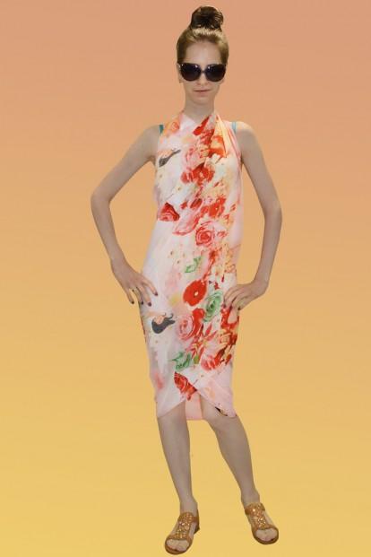 Розовое пляжное парео с цветочным принтом Sensation Corallo - фото 1