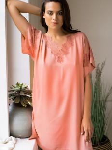 Свободная женская сорочка туника из вискозы с коротким рукавом