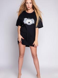 Короткая черная женская ночная сорочка свободного кроя с коалой