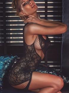 Кружевное эротическое платье в сетку