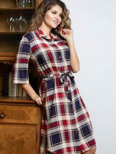 Женское домашнее платье из вискозы в клетку на пуговицах