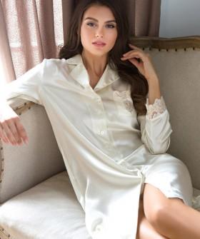 Женская шелковая ночная сорочка рубашка цвета шампань
