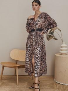 Легкое леопардовое платье из вискозы с поясом