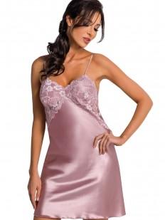 Атласная ночная сорочка женская на бретелях с кружевным лифом розовая