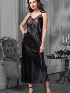 Длинная черная атласная сорочка с кружевным декольте и полупрозрачной задней частью