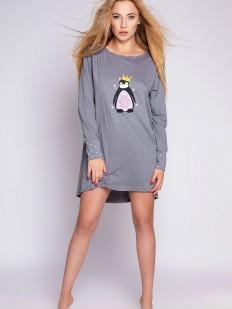 Короткая женская ночная сорочка с длинным рукавом пингвином и принтом пингвин